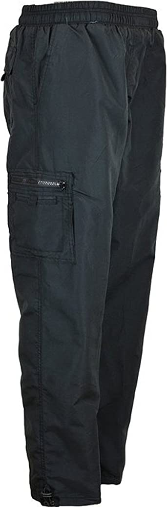 NEW MENS BLACK FLEECE LINED ELASTICATED THERMAL CARGO WARM CASUAL WORK TROUSERS