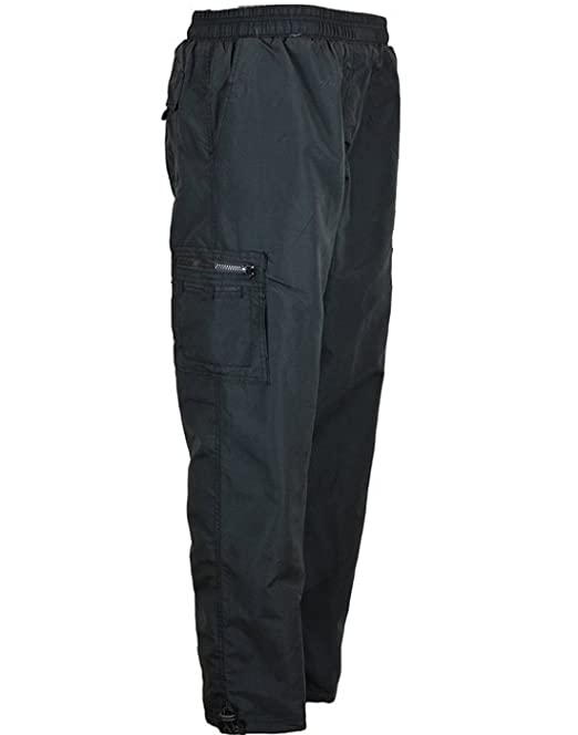 4f93914a MENS TROUSERS WITH THERMAL LINING ELASTICATED WAIST COMBAT STYLE LINED  BLACK TROUSERS PANTS