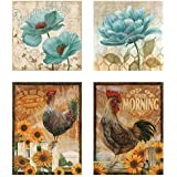 Two 12x16 & Two 12x12 Rise & Shine Top of The Morning Rooster Sunflower Wall Decor