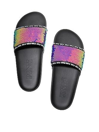 7b8770d7c53e Amazon.com  Victoria s Secret Pink Sequins Bling Single Strap Slides  Sandals Medium Iridescent NWT  Clothing