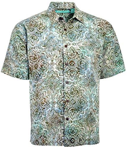 Mens New Cotton Hawaiian Shirt - Artisan Outfitters Mendocino Batik Cotton Shirt New (Teal, 4XLT) AO118-1048-4XLT