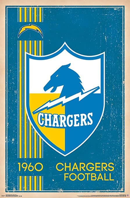 best service cad55 635ae Trends International San Diego Chargers Retro Logo Wall Poster 22.375