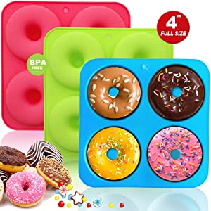 Silicone Donut Pan Molds For Baking, Full Size Non-Stick Donut Baking Pans for Perfect Shaped Doughnuts-Cake Biscuit Bagels - BPA Free, Dishwasher, Oven, Microwave, Freezer Safe(3 Packs)