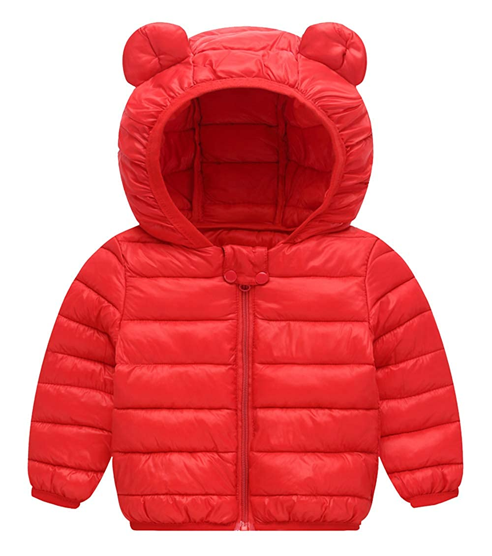 Happy Cherry Kids Boys Girls Winter Cotton Jacket Baby Down Coat Lightweight Hoodie Jacket for Toddler