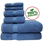 100% Organic Turkish Cotton Eco-Friendly Premium Quality Luxury Hotel & Spa Turkish Towels Super Soft, Plush, Ultra Absorbency & Quick dry. By Aspendos Linen (Towel Set - Set of 6, Denim Blue)