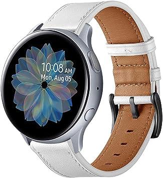 Imagen deSPGUARD Pulsera Compatible con Correa Samsung Galaxy Watch Active 2, 20mm Pulsera de Repuesto de Cuero para Samsung Galaxy Watch Active 40mm/Galaxy Watch Active 2 40mm/44mm(Blanco)