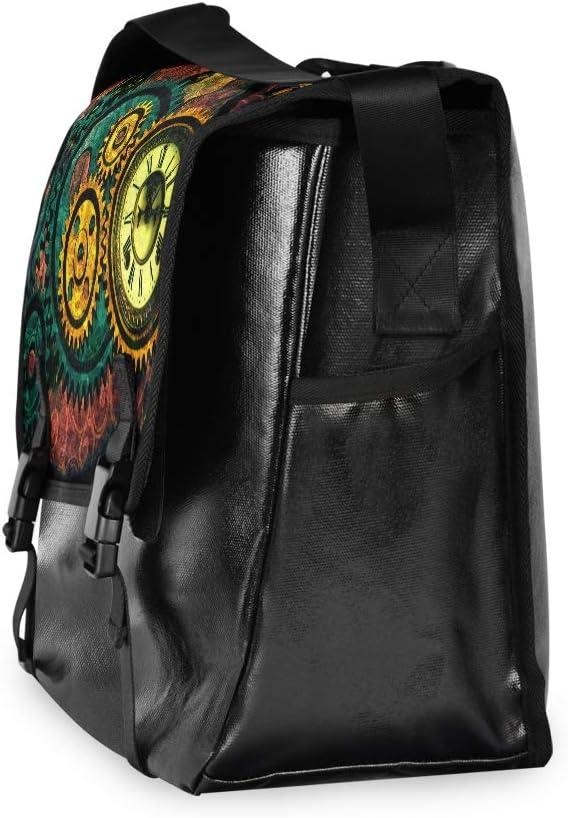 Laptop Computer for Men Women Student Messenger Bag Shoulder Bag Mount Casual Canvas Satchel Mechanical Clock Time Traveling Camping