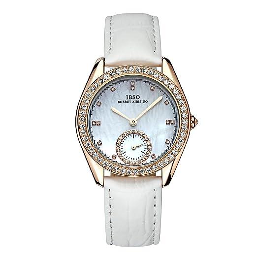 De moda de lujo relojes para las mujeres blanco Mop Dial reloj de pulsera, piel auténtica s8132l: Amazon.es: Relojes