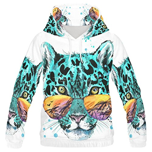 InterestPrint Custom colorful Watercolor Animal Leopard Sun Glasses Teenager's Pullover Hoodies Sweatshirt - Xxx Sunglasses