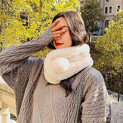 sciarpa alla moda in finta pelliccia per cappotto e fazzoletto in lana per donne e ragazze FJROnline