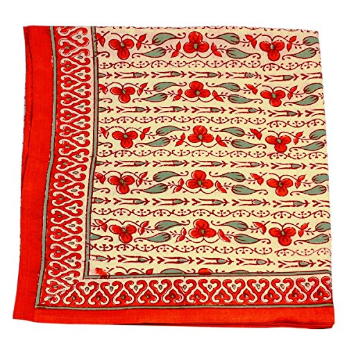 Orange Green Floral Square Tablecloth in Cotton Indian  : 61jYuGPlVhL from www.bta-mall.com size 500 x 500 jpeg 108kB