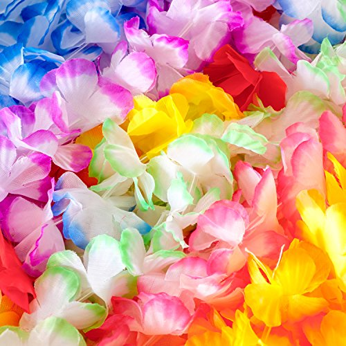 Hawaiian Leis Flower Necklace Party- (36 COUNT) Tropical Soft Silk Graduation Lei Premium Luau Supplies, Vibrant Leys and Multi-Colored Favors, Fun Lay Decorations for Children's (Silk Floral Lei)
