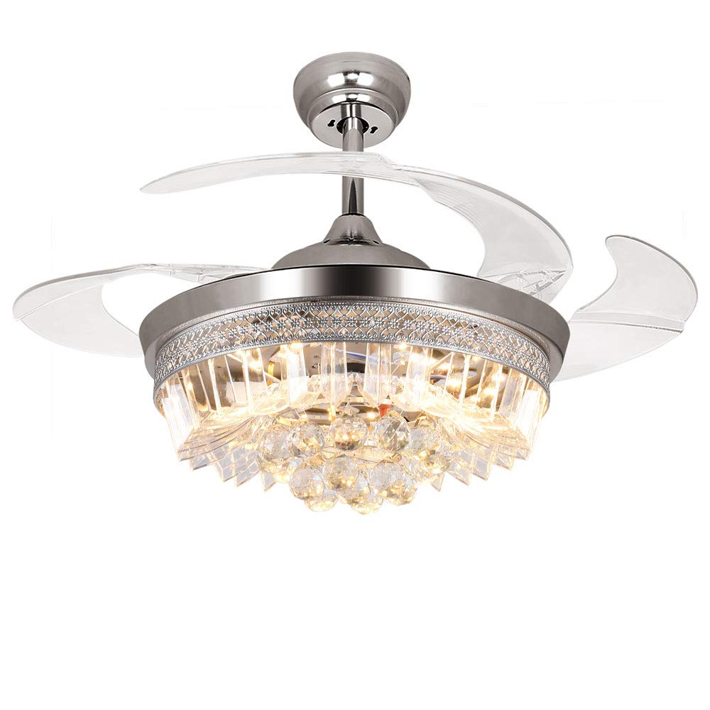 RS Lighting 42 Crystal Rings Ceiling Fans 32W LED Silver Metal Finish with 4 Acrylic Retractable Blades and Remote Control
