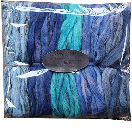 HAND DYED Merino Tencel SPINNING FIBER. Super Soft Wool Top Roving drafted for Hand Spinning, Felting, Blending and Weaving. 5 beautifully colored Mini Skeins DISCOUNT PACK, (Hand Dyed Roving)