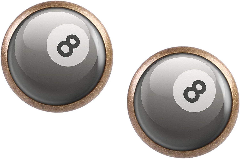 Studs par con motivo 8-Ball ocho bolas de billar pool bola blanco ...