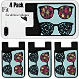 Liili Phone Card holder sleeve/wallet for iPhone Samsung Android and all smartphones with removable microfiber screen cleaner Silicone card Caddy(4 Pack) Retro sunglasses with strange creatures refle
