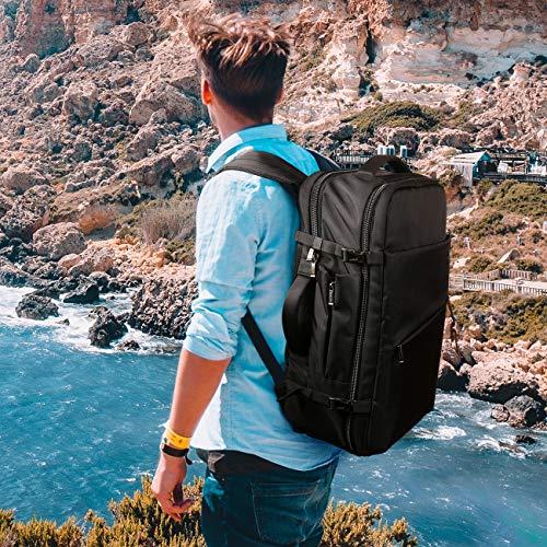 Inateck 40L Travel Backpack, Flight Approved Carry-On Luggage Backpack, Anti-Theft Laptop Rucksack Large Daypack Weekender Bag for 17'' Laptop - Black