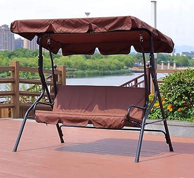 ZDYLM-Y Columpio Balancín Jardín 3 plazas Asiento de Columpio con toldo Bench Muebles Tumbona Refugio con Techo de Patio al Aire Libre, Brown: Amazon.es: Deportes y aire libre