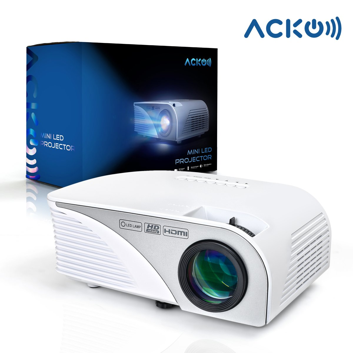 Acko Portable Mini HD LED Video Projector Office Home Theater 1200 LM Multimedia Outdoor 20''-150'' HDMI VGA USB AV SD Audio 1080P Smart Phone Tablet PC Computers Laptops White Warranty Included by EpandaHouse