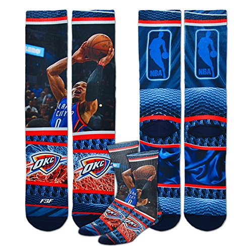 Oklahoma City Thunder Youth Size NBA Hardplay Kids Socks (4-8 YRS) 1 Pair - Russell Westbrook #0 by For Bare Feet