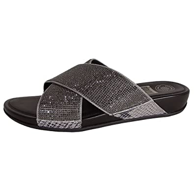 9aa89e7b5a583 FitFlop Womens Aix Crystal Crossover Slide Sandal Shoes