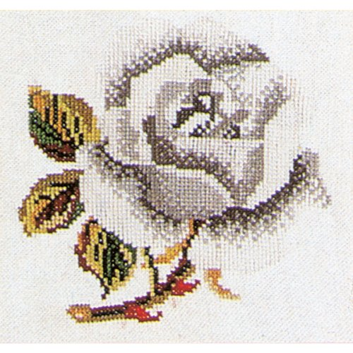 Count White Aida Fabric (Thea Gouverneur 16 Count Counted Cross Stitch Kit, 5-1/8 by 5-1/8-Inch, White Rose on Aida)