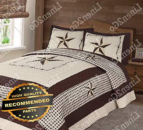 Werrox Texas Rustic Checkers Cowboy Star Western Quilt Bedspread Comforter Shams 3Pc | King/Cal-K Size | Quilt Style -