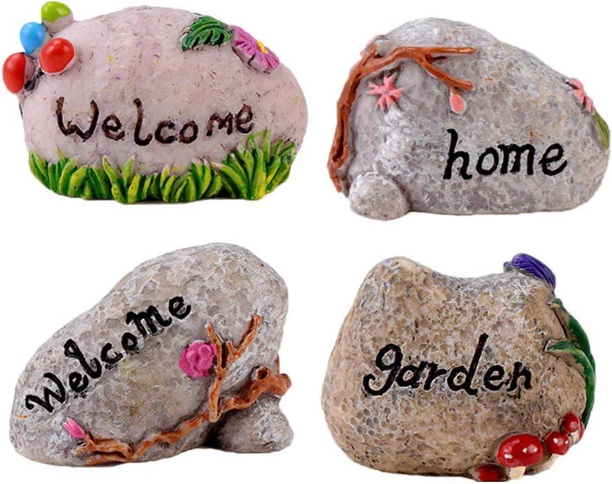 Miniature Fairy Garden Stone 4 Pcs Garden Figurines Micro Landscape Decoration Plant Pots Ornaments