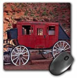 """Navajo Nation, Monument Valley, stage coach at Gouldings Trading Post Mouse Pad is 8"""" x 8"""" x .25"""" and is made of heavy-duty recycled rubber. Matte finish image will not fade or peel. Machine washable using a mild detergent and air dry."""