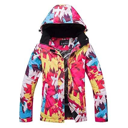 Kbsin212 Chaqueta de Esquí para Mujer con Capucha Invierno Cálido ...