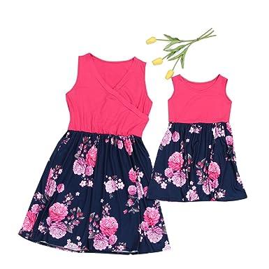 Mutter Kind Kleider Familien Kleidung Blumen Weste Damen