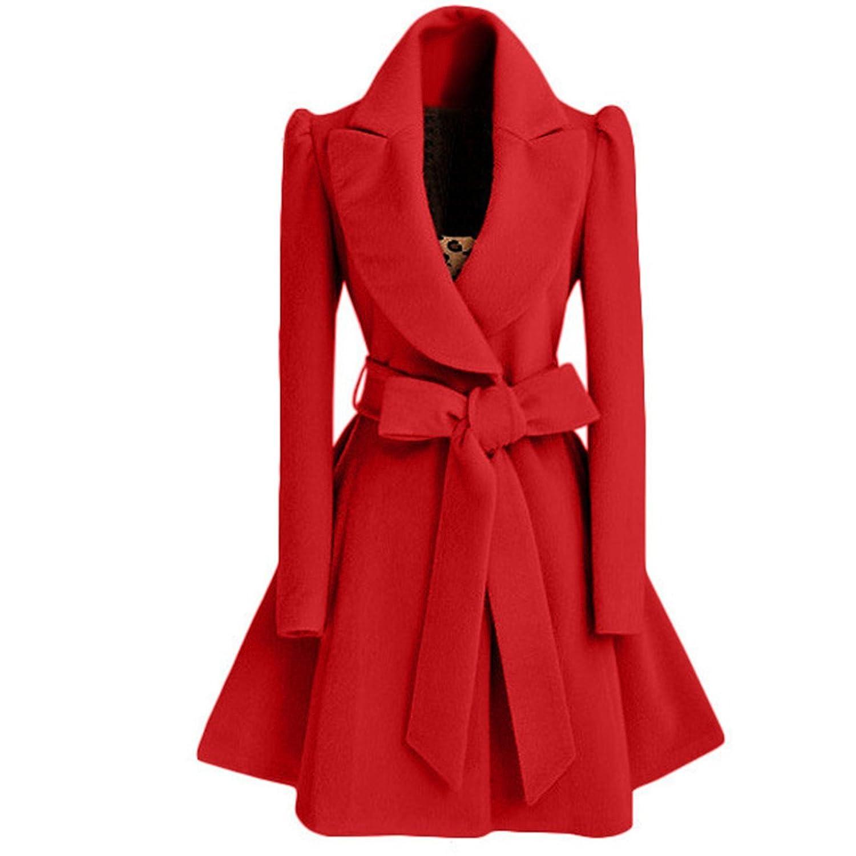 Cityelf Women's Solid Puff Sleeves Bowknot Woolen coat Skirted Hem Dress Coat