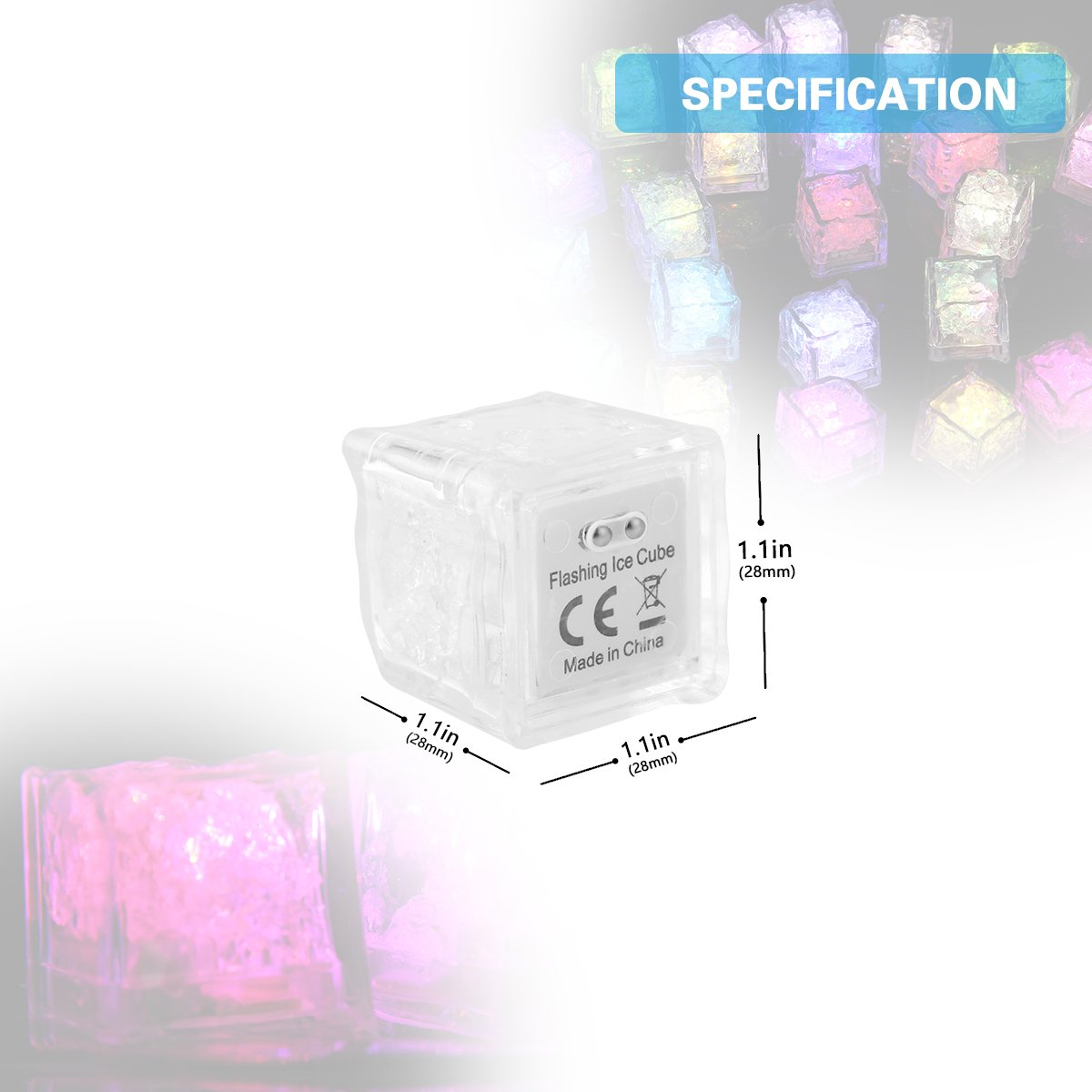 Ice Led Light - Aieve 24pcs Led Ice Cubes Multicolor Decoration Lights Color Changing Led Flash Ice Drink Cup Sensor Led Glow Light for Christmas Champagne Tower Party Wedding Club Bar Thanksgiving by AIEVE