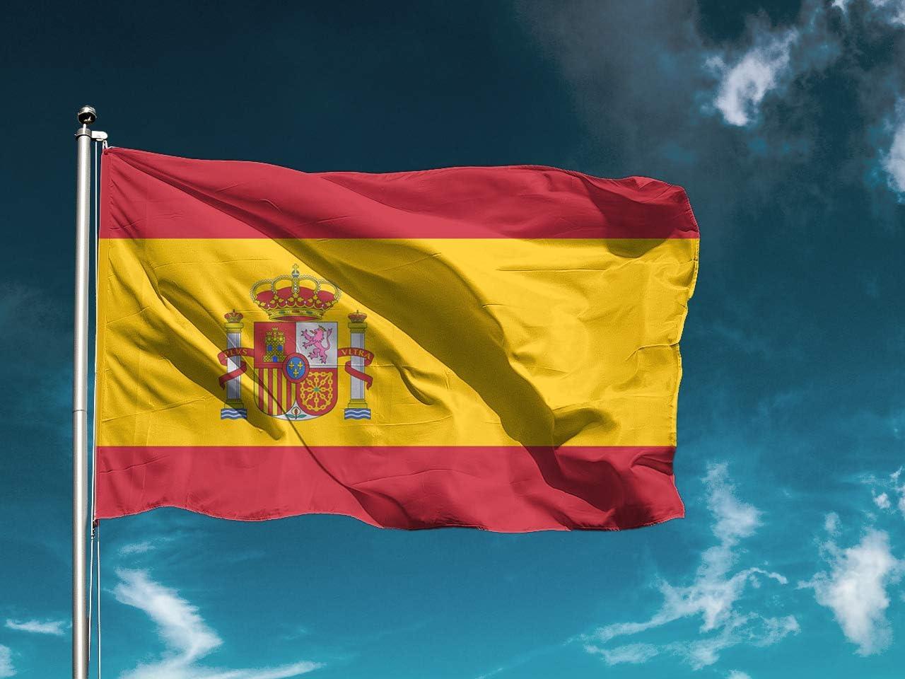 G | Bandera España | Medidas 100cm x 70cm | Fácil colocación | Decoración Exteriores (1 Unidad): Amazon.es: Hogar