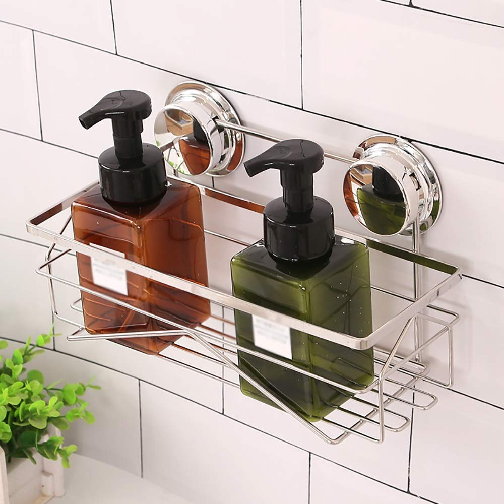Sink Caddy with Strong Suction Cups-Small Sponge Holder Made of Coated Metal-Compact Soap Holder for Bathroom Sink or Kitchen Sink, stainless steel by Guoqing (Image #4)