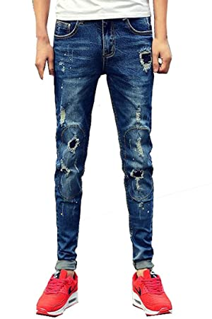 YUNY Mens Street Style Washed Ripped Denim Slim Fit Skinny Jeans Blue 31