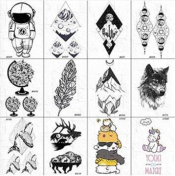 Hombres Moda Pequeño Lobo Tatuaje Pegatinas Cuerpo Brazo Mujeres ...