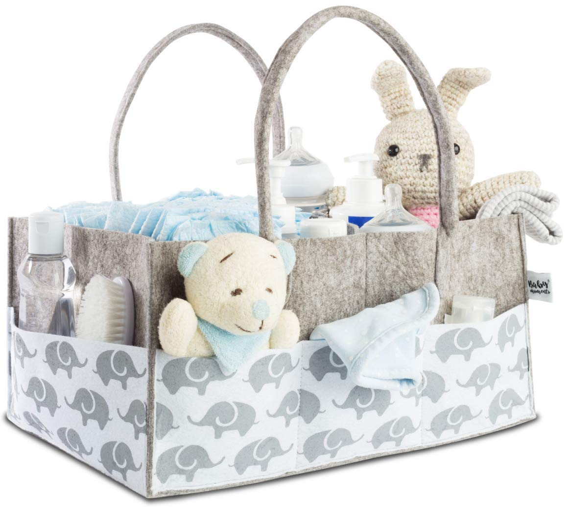 Baby Diaper Caddy Organizer for Nursery Essentials - Baby Moments Storage Bin for Changing Table, Nice Baby Shower Gift Basket for Boys and Girls by Bebo Beba