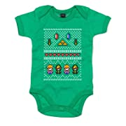 Brand88 Hyrule Christmas, Baby Grow - Kelly Green 3-6 Months