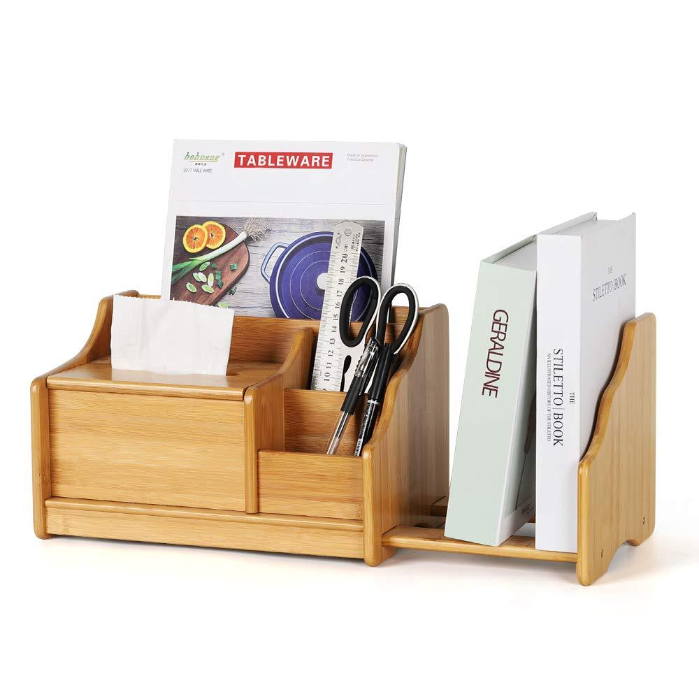 NEX Office Desk Organizer Bamboo Desktop Storage Shelf Rack with 3 Compartments, Tissue Holder Box, Bookshelf for Office, Home by NEX