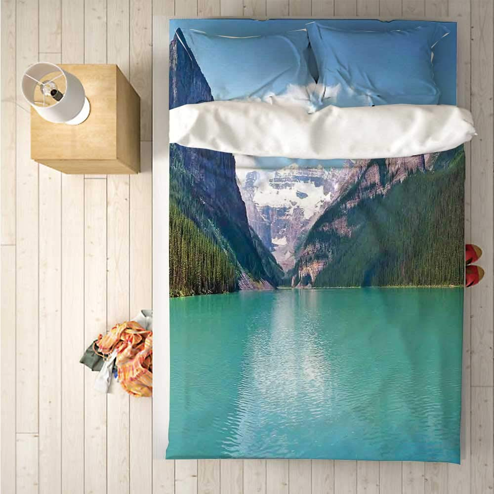 Lake House Decor Soft 4 Piece Bedding Set,Mountain and Lake Louise Panorama in Banff National Park Alberta Canada for Bedroom,One Side Print : Singe