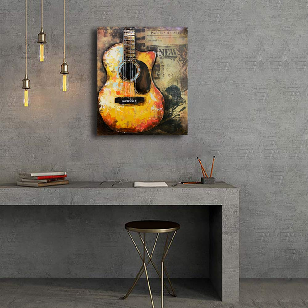 New 3D Metal Guitar Painting 3D Paintings Metal Home Decor Decal Guitar Music Wall Art Handmade Metal Sculpture Guitar Metal Wall Artwork 24x 20 by Sigma D/écor for A Musician