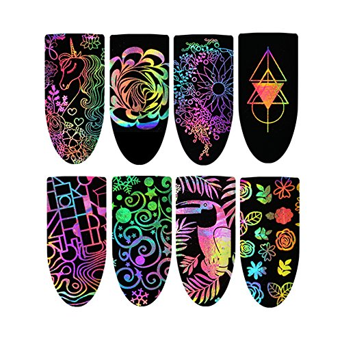lightclub 8Pcs Multi-pattern Nail Art Sticker Fingernail Decor Manicure Decals Accessory 1 -