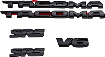 PUOU 2PCS FIT FOR Tacoma TRD Pro and 4x4 MATTE Black Painted Emblem Set