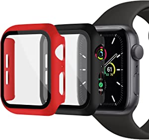 XFEN [2 Packs] Hard Overall Protective Case with Built-in Screen Protector for Apple Watch Series 6/5/4/SE 44mm, All Around Matte Hard PC Case with Tempered Glass Screen Protector (Black+Red)