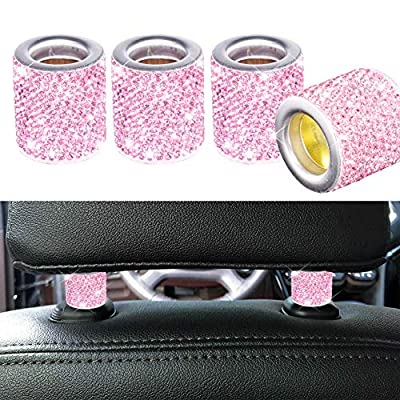 FEENM Car Headrest Head Rest Collars Rings Decor Bling Bling Crystal Diamond Ice for Car SUV Truck Interior Decoration Blings 4 Pack Pink: Automotive