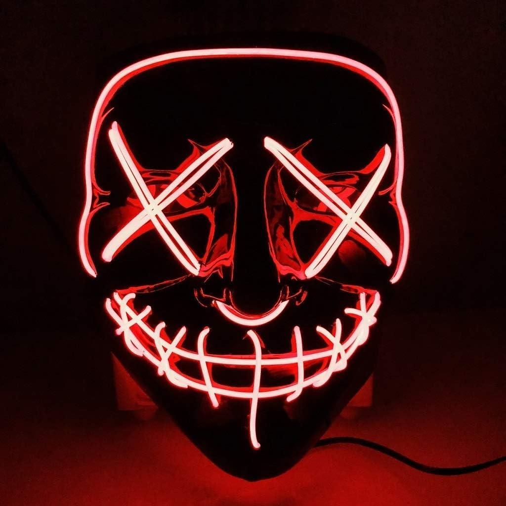 CompraFun Máscara LED Halloween, Máscara Disfraz Luminosa Craneo Esqueleto, para Navidad Halloween Cosplay Grimace Festival Fiesta Show, Funciona con Baterías (no Incluidas) (Rojo)
