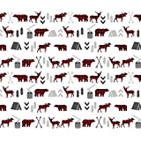 Camping Fabric - Buffalo Plaid Woodland Moose Deer Bear Forest Woodland Trees Camping Canada Kids by charlottewinter - Printed on Organic Cotton Knit Fabric by the Yard
