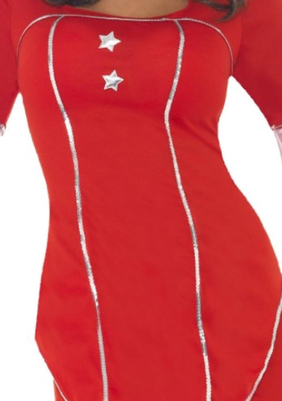 Karnevalsbud - Damen ABBA Super Trouper Kostüm mit Stirnband., S, S, S, Rot be4350