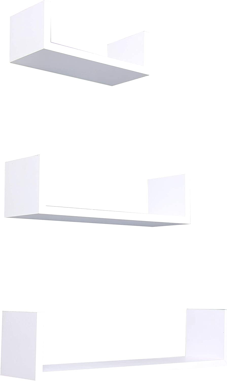 Home Basics Wall Mount Floating Wood Shelf Set of 3 for Livingroom, Bedroom, Bathroom, Kitchen, Trendy Modern Home Décor Organization, White